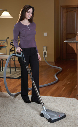 This Hide-A-Hose inlet uses a TurboCat powerhead for carpeting, and a floor tool for hardwood flooring, tile, and linoleum. HAH is a great option for those homes that have a mixture of carpet or stone, wood, tile, or linoleum flooring.